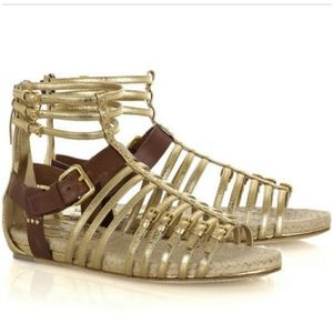 Miu Miu metallic leather gladiator sandals
